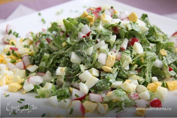 4. Смешать салат, 2/3 редиса,2/3 яйца, зелёный лук и сметану. Посолить.