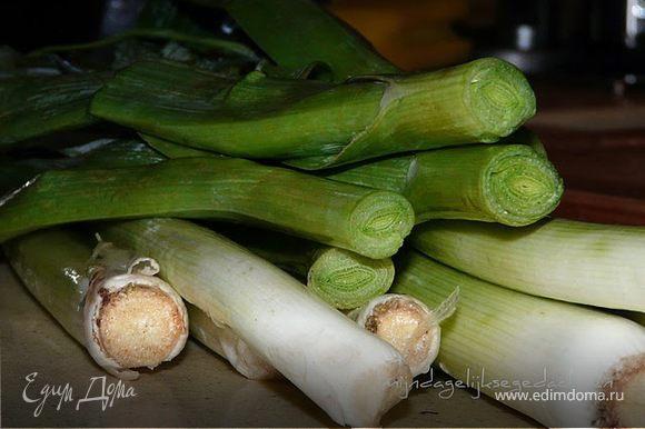 В тяжелой кастрюле поджарить на сливочном или оливковом масле лук, добавить бекон/колбаски, затем порезаный порей и картофель. Через 5 минут влить бульон, поперчить, посолить, накрыть крышкой и варить на малом огне ок.15 минут, пока овощи не будут готовы. Немного остудить, блендером довести до кремового состояния, влить сливки, размешать и подавать.