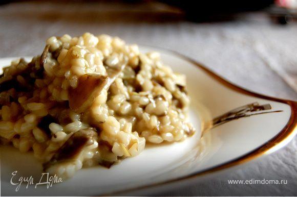 Когда рис будет готов, добавляем вторую часть сливочного масла и пармезан. Очень хорошо перемешиваем. И сразу садимся за стол наслаждаться нашим нежным ризотто! Приятного аппетита!