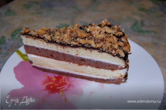 Желательно, чтобы торт часик-другой постоял на столе, и ночь в холодильнике...