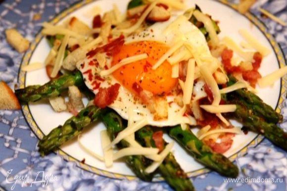 На отдельную тарелку выложить спаржу, яйцо и присыпать все сухарями с беконом и натертым сыром.