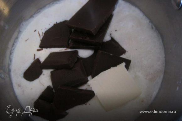 Ганаш. Сливки подогреть, добавить шокола и масло. Снять с огня когда шоколад растопится. Охладить. Хорошо взбить. Взбивается долго, минут 10-15. Если вы берете шоколад с высоким с высоким содерджанием какао, тогда нужно братьна 50 гр. шоколада меньше.