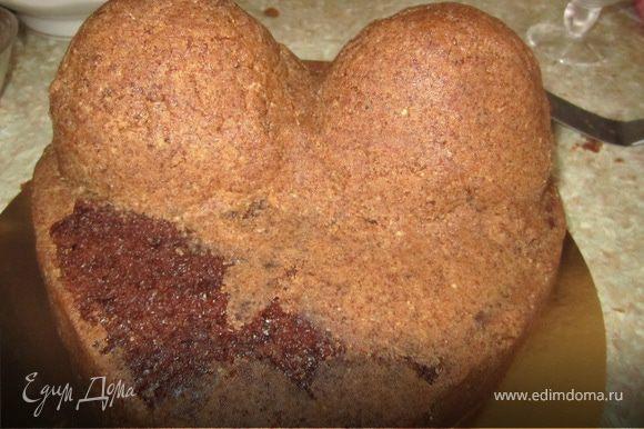 Из оставшегося коржа делаем картошку(крошка бисквита+75 гр масла+50 гр сгущенки). Покрыть картошкой грудь и бока бисквита.