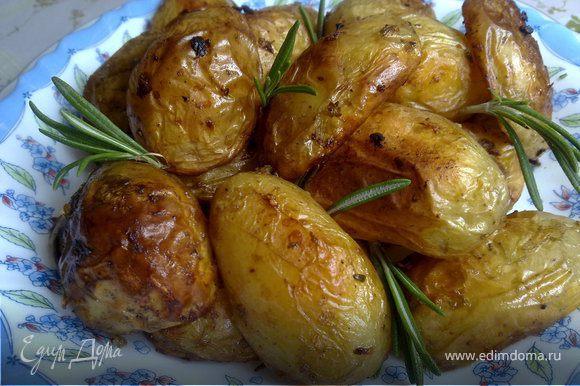 Картофель как следует помойте и разрежьте – крупные клубни четвертинками, средние пополам, а некрупную молодую картошку (на фото) оставьте как есть, и не слушайте тех, кто говорит, что картофель нужно непременно чистить! Раздавите или измельчите чеснок, листики розмарина слегка разотрите в ступке или хотя бы между ладонями, и залейте чеснок и розмарин растительным (лучше – оливковым) маслом. Влейте эту смесь в миску с картофелем, приправьте солью и черным перцем, и как следует размешайте, затем выложите картофель на противень в один слой и запекайте в духовке при температуре 220 градусов в течение 30-40 минут, или до готовности (проверить ее можно вилкой). При запекании противень с картофелем нужно два-три раза встряхнуть, чтобы картофель приготовился равномерно.
