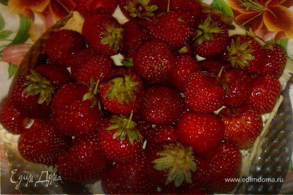 удалить плодоножки с клубники оставив несколько ягод с хвостиками для украшения. Разложить клубнику на сливках