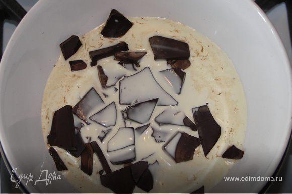 На паровой бане растопить шоколад со сливками.