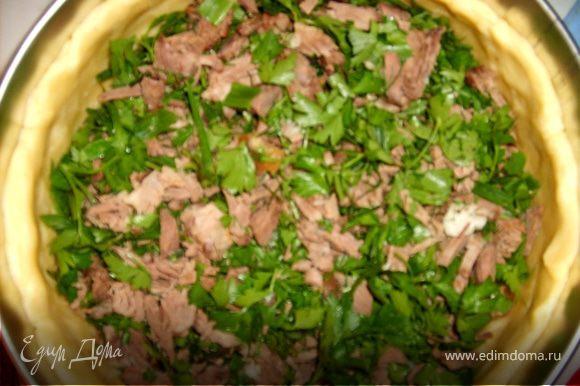 а теперь укладываем начинку: 1 слой- мясо с зеленью