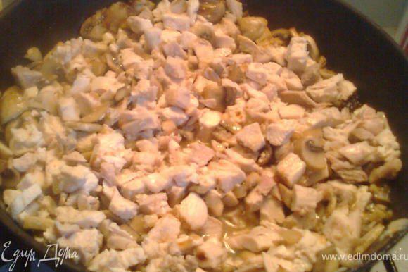 Порезать лук, обжарить его на сковородке потом добавить грибы, обжарить минут 5-7 и затем в эту же сковородку добавить куриное порезанное мясо. и протушить еще минут 3-5. Переложить в миску и дать немного остыть.