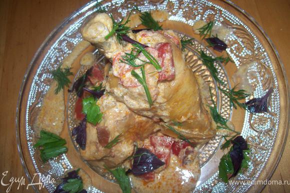 Данное блюдо можно подавать с клецками или отварным картофелем! так же можно посыпать рубленной зеленью.)