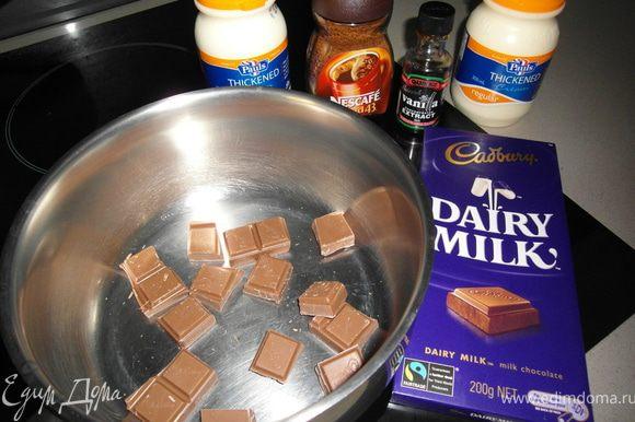 В кастрюлю поломать шоколад на кусочки, добавить сливки и кофе (если решили делать с кофе). P.S. я делала с кофе, что придало мягкий кофейный аромат.