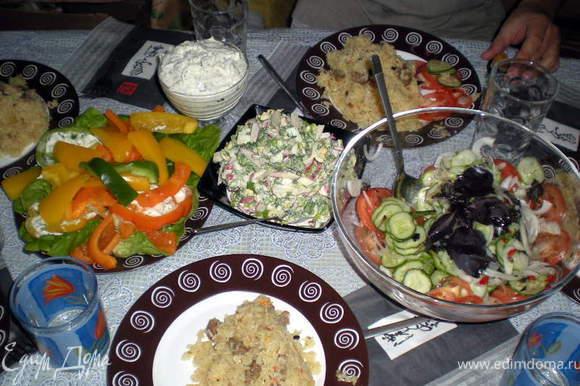 Получился Узбекский обед.Друзья остались сыты и довольны)))