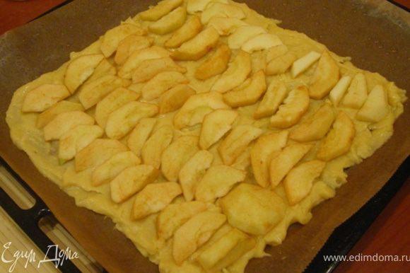 Выкладываем яблоки, посыпаем корицей и сахаром.