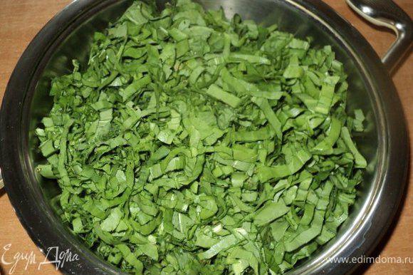 Щавель промыть, обсушить, обрезать черешки.Мелко порезать, положить в сухую сковороду, накрыть крышкой, поставить на плиту и припустить 2-3 мин до мягкости.