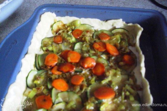 8. А сейчас будем красиво раcкладывать начинку пирога слоями. Выложим половину творожной массы ,потом половинy овощей, и тогда - в самую середину - весь лосось...потом опять оставшихся овощей и оставшуюся половину творожной массы.