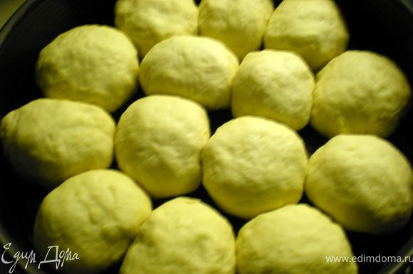 Сформировать шарики и выложить их в форму.Я брала с разъёмными бортами и форму смазала маслом.Выкладываем шарики на расстоянии друг от друга.