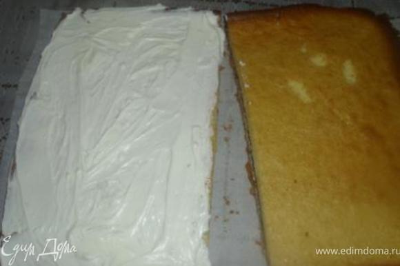 Крем: Сливки взбить с сахарной пудрой, аккуратно ввести сыр. Миндальный корж промазать кремом (1/2 общей массы), накрыть сверху шоколадным и отправить в холодильник на пару часов. Разрезать коржи пополам. Смазать одну половинку кремом и накрыть второй.