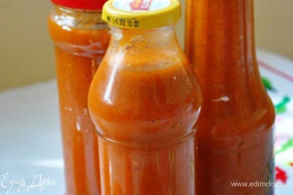 В итоге получится около полутора литров вкуснейшего томатного соуса!