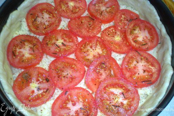Выложить помидоры,слегка посолить,поперчить и сбрызнуть 1 ст.л. оливкового масла.