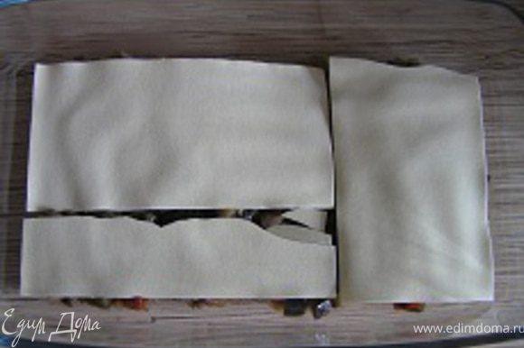 накрыть листами лазаньи, выложить оставшуюся начинку и снова уложить листы лазаньи.