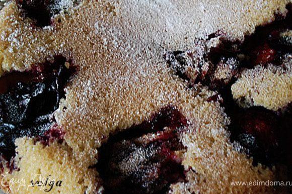 Яйца взбить с сахаром до белой состояния и чтобы кристалики сахара все растворились.Добавить муку. Перемещать. Форму смазать сливочным маслом, выложить половинки слив кожицей вниз, влить тесто и и выпекать 30-40 минут при температуре 200 градусов. После извлечения из формы посыпать пудрой.