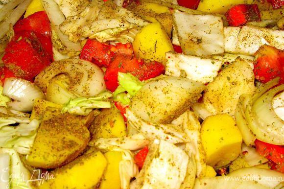 За это время почистить овощи (картофель, морковь, лук, капусту, помидоры). Нарезать небольшими кусками произвольной формы. Выложить все в глубокий противень, приправить морской солью, черным перцем, тимьяном, паприкой и куркумой. Тщательно перемешать.