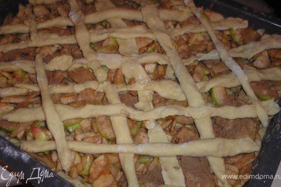 Винимаем тесто из холодильника, делим на две части, одну чуть большу, другая чуть меньше. На смазаный протвинь выкладываем большую часть теста, сверху яблоки, посыпаем несколькими ложками сахара (по вкусу) и корицей. Из другой части теста раскатываем длинные полоски и выкладываем сверху яблок в форме решетки. Отправляем в духовку на 40-50 мин при температуре 180-200 градусов.