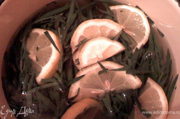 Взять литр воды воды поместить в нее нарезанный лимон и тархун прокипятить. Добавить лимон, сахар, корицу, гвоздику. Кипятить еще минут 5. После чего выключить и оставить настаиваться(желательно на ночь).