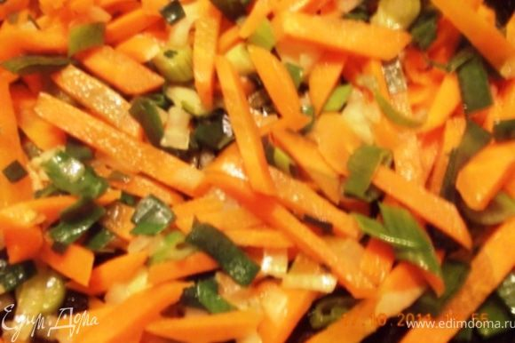 режем морковь ( мне нравится соломкой), лук и тушим на медленном огне в небольшом количестве воды