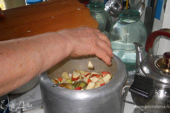 Лук-порей и яблоко, можно было готовить и вместе со всеми предыдущими ингредиентами, которые мы засыпали уже в скороварку, но я просто решила их добавить в этот рецепт, в последний момент. Пользуясь тем, что как я уже писала в комментарии к этому блюду - в рагу можно добавлять любые овощи, которые Вы найдете у себя на кухне.