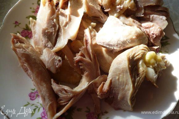 Из мяса сварить бульон,мясо достать и отделить от костей.