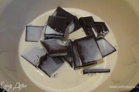 Конфеты: Залить горячими сливками нарубленный шоколад и перемешать до полного растворения шоколада.