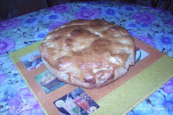 Взбить яйца с сахаром до пены.Потом добавляем всё по рецепту. В форму заливаем одну часть теста выкладываем яблока и заливаем второй половиной.Ставим в духовку.