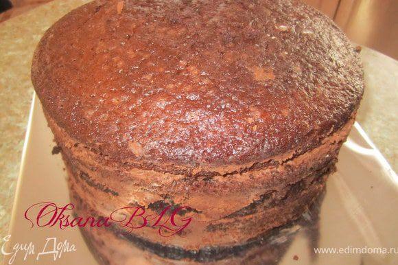 Подготовленный бисквит перемазать кремом. Поставить в холодильник на 1-2 часа.