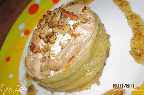 Я в оставшийся мёд добавила оставшиеся орехи и подавала десерт полив рядом таким вот соусом - мёд с орехами. Пробуйте север Франции на вкус.