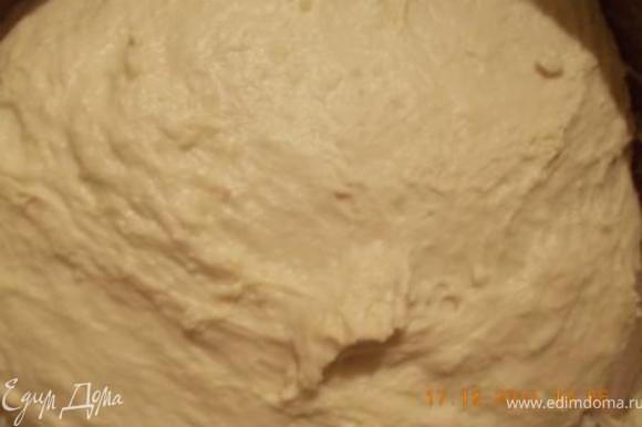 Когда картофельный отвар и пюре для теста остынут начинаем готовить тесто. Дрожжи смешиваем с мукой. В кастрюлю выливаем отвар, добавляем пюре, сахар, соль, масло, муку с дрожжами и месим тесто, пока оно не будет отставать от рук, если нужно, то добавляем ещё муки. Оставить тесто, чтобы подошло, осадить, дать подойти ещё раз.