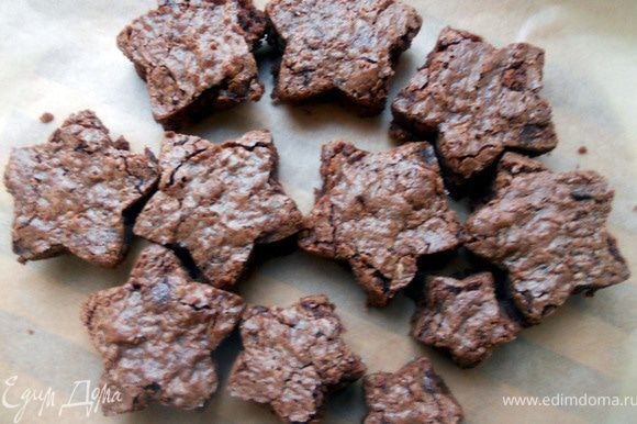 Остудить при комнатной температуре час, затем вырезать звезды (обрезки теста сохранить для другого рецепта). Например, для конфет: http://www.edimdoma.ru/recipes/34803.