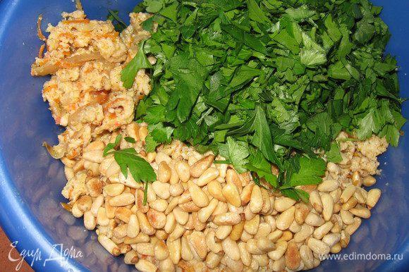В остывший фарш добавляем петрушку и орешки, перемешиваем.