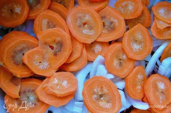Морковь кружечками.Уложить на лук.