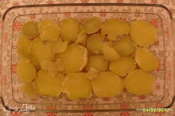 Отварить до полуготовности 3 среднего размера картофелины, предварительно почистив кожуру. Затем порезать колечками и выложить в огнеупорную посуду (как на фото)-(1-й слой).