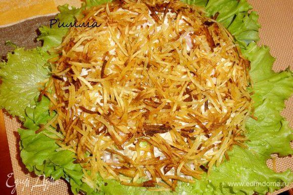 Жареную картофельную соломку распределить сверху, закрывая салат.