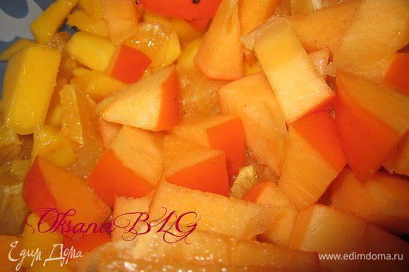 Добавить порезанный апельсин и шарон.