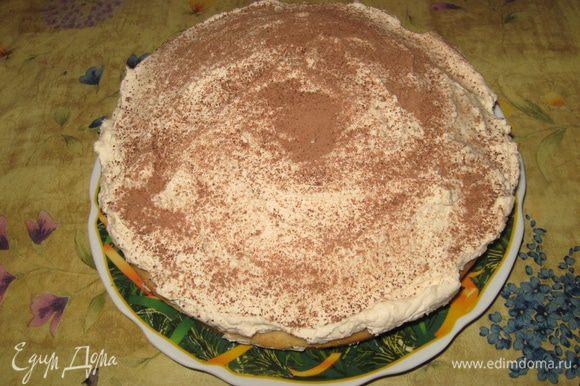 Формируем тортик: У меня бисквит получился высоким, я разрезала его на 2. На половину бисквита выкладываем половину крема, закрываем второй половиной бисквита и снова крем. Посыпаем какао. Кладем в холодильник. Я клала на ночь, но достаточно 3х часов.
