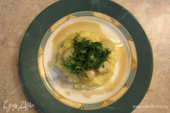 Выложите посередине тарелки теплое картофельное пюре. Выложите сверху гребешки. Сверху гребешков выложите несколько веточек салата, предварительно смоченного в лимонном соке. Полейте ложкой соус кругами на всё блюдо. Посыпьте сверху черным перцем и сбрызните оливковым маслом.