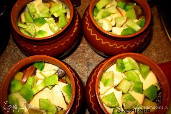 затем у нас идёт приправа и зелень... лук кубиками,картошка,верхний слой редька... солим и наливаем чуть выше середины горшка кипяточка....