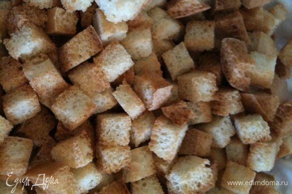 Из белого хлеба приготовить сухарики...