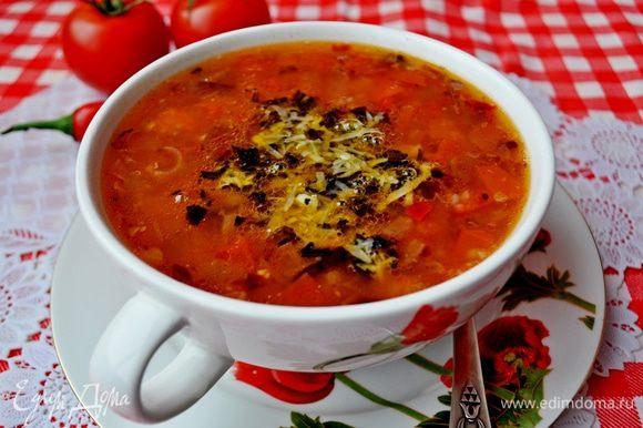 Подавать, положив в тарелку с супом 1 ст. л. сырной заправки.Ну очень вкусно! Приятного аппетита! P.S.Кто не любит острое можно перец чили не добавлять,а для постного варианта супа использовать не куриный,а овощной бульон,а в заправке пармезан заменить грецким орехом.