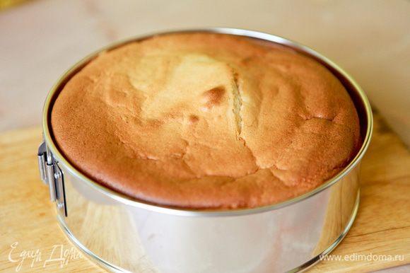 Готовый бисквит перевернуть дном вверх на решетку и дать полностью остыть.