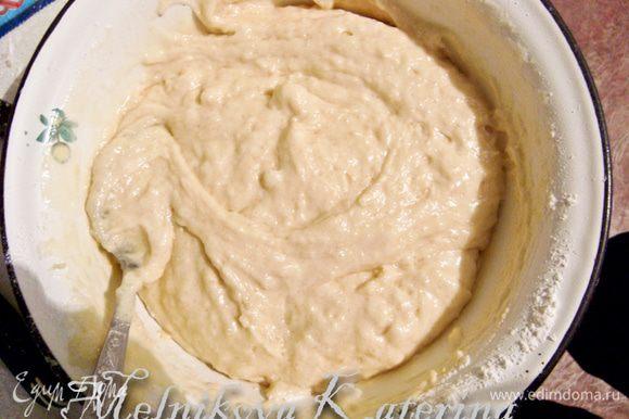Белки взбить. В желтковую массу добавить половину взбитых белков. Перемешать осторожно. Затем добавить мучную смесь, также осторожно перемешать. В конце добавить оставшиеся белки.