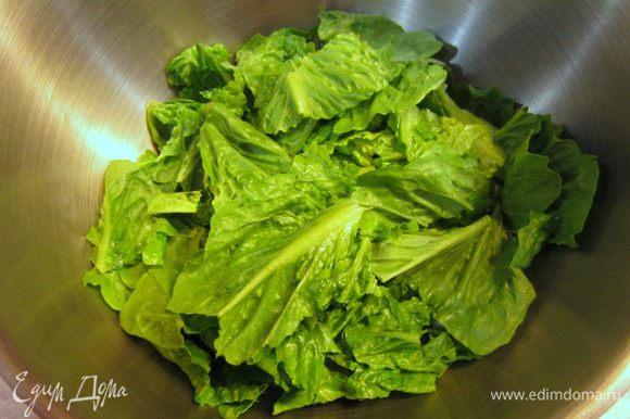 Промойте салат и высушите. Порвите салат на части. Толстые стебли можете выкинуть.