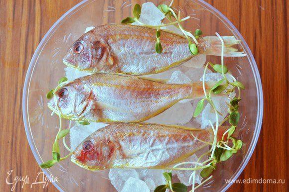 Рыбу тщательно промыть под проточной водой и удалить всю чешую